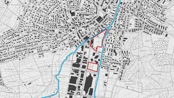 Auf dem Kartenausschnitt sind jene Areale rot umrandet, die im Projekt Eisweiher Plus berücksichtigt sind. Es handelt sich um die Gebiete Eisweiher (nördlich) und Langmannwerk (südlich).