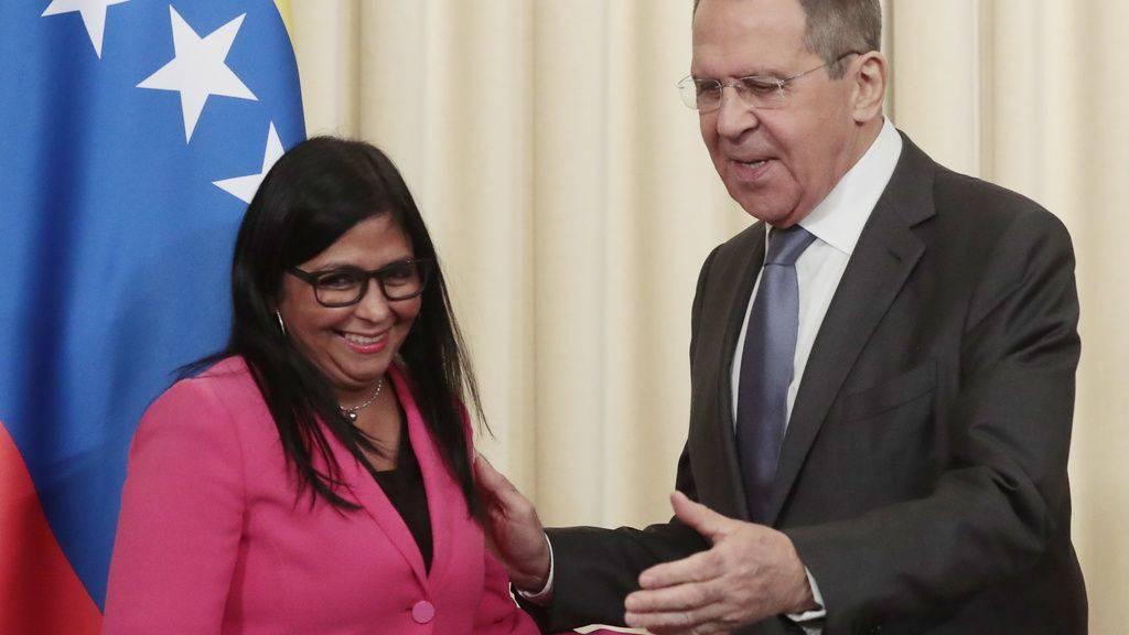 Der russische Aussenminister Sergej Lawrow empfängt die venezolanische Vizepräsidentin Delcy Rodríguez in Moskau.