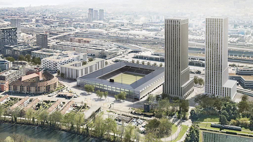 So könnte das zukünftige Fussballstadion auf dem Hardturm-Areal in Zürich aussehen. Am 25. November entscheiden die Stadtzürcher darüber an der Urne.