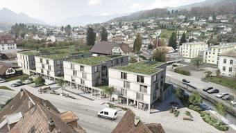 Die vier Häuser, die bis im Sommer 2022 auf dem Sagi-Areal bezugsbereit sein sollen: (v.l.) «Ahorn», «Birke», «Carolina» und «Douglasie».