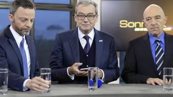 Hans-Ueli Vogt und Ruedi Noser (von links) sind am Dienstagabend für den zweiten Wahlgang der Zürcher Ständeratswahlen nominiert worden. Bereits gewählt ist Daniel Jositsch von der SP (rechts)