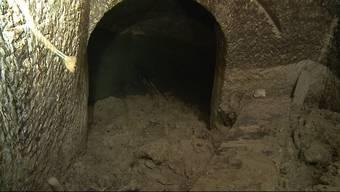 Die Kuh Belinda stürzte im Sommer in ein Erdloch und machte so einen Sensationsfund. Heute wird die Höhle mit Hilfe von grossen Saugern freigelegt.