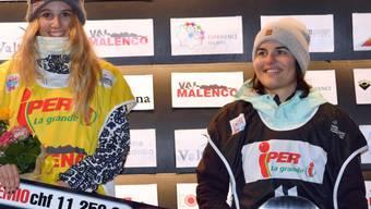 Sina Candrian (ganz rechts) erreicht den Final am Slopestyle-Weltcup in Laax