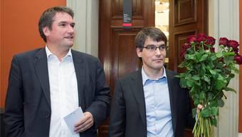 Der neue SP-Fraktionschef Roger Nordmann (r.) und sein Partei-Präsident Christain Levrat (l.)