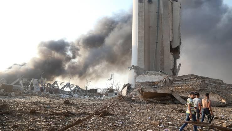 Das völlig verwüstete Hafenviertel von Beirut: Hier explodierten am Dienstag 2800 Tonnen Ammoniumnitrat. Die Explosion war Hunderte Kilometer weit zu spüren.