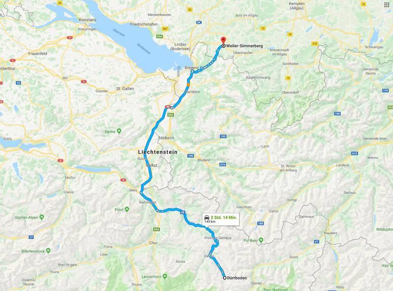 Diesen Weg legte das Murmeltier im Auto von Peter Schmid zurück. (Bild: Screenshot Google Maps)