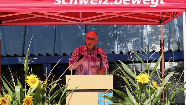 Impressionen von der Bundesfeier in Fislisbach.Pfarrer Christoph Monsch appelliert an Toleranz.