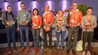 Sieger aller AKs (v.l.n.r.): Katrin Saly Graf, Mark Thomson, Anita Appius, Rolf Wermelinger, Priska Buob, Aeneas Appius und Melanie Maurer.