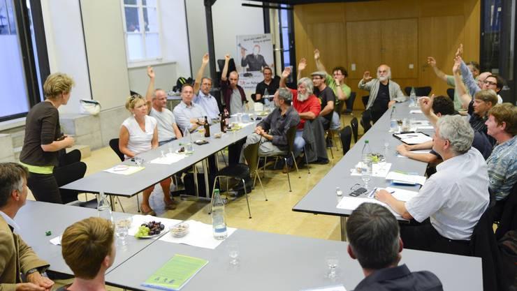 Die Mitglieder der kantonalen Grünen sagen mit 12:3 Stimmen Ja zur Abschaffung der Wehrpflicht – beobachtet von Alec von Graffenried (Nationalrat Bern, Gegner der Initiative), Irène Kälin (Vizepräsidentin Grüne Schweiz, Befürworterin) und Gesprächsleiter Eric Send (v.l.).