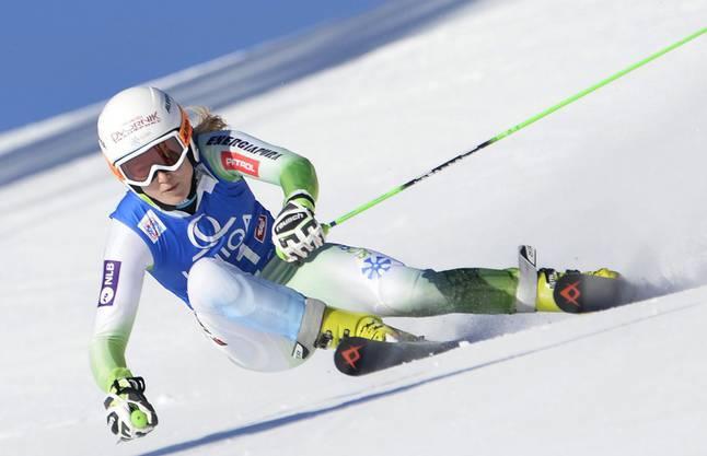 Die Slowenin Ana Drev führte nach dem ersten Lauf, schied aber im zweiten Durchgang aus.
