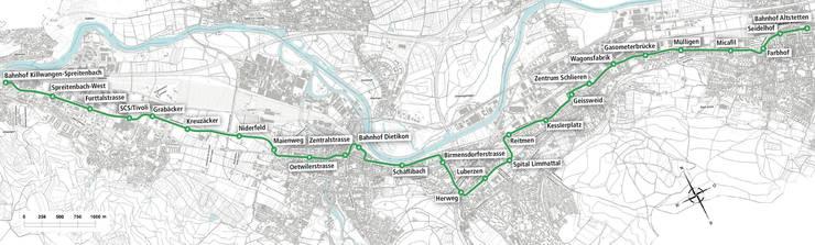 Limmattalbahn: So sieht der Plan der Linienführung von Zürich Altstetten nach Killwangen aus.