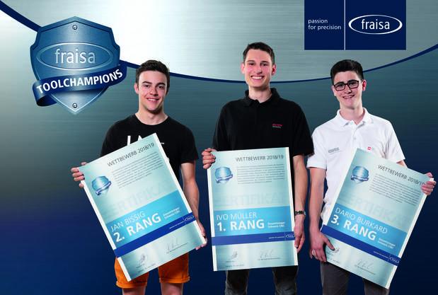 Die drei Erstplatzierten in der Kategorie «CNC-Bearbeitung»: Jan Bissig aus Erstfeld (2.), Ivo Müller aus Zug (1.) und Dario Burkard aus Willisau (3.).