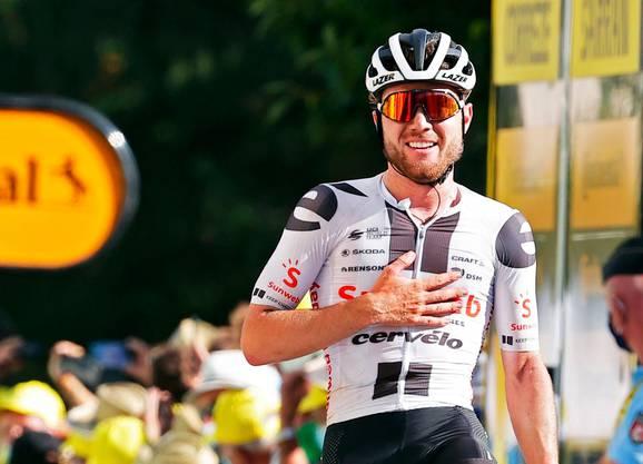 Der Jubel über den Etappensieg an der Tour de France: Marc Hirschi.