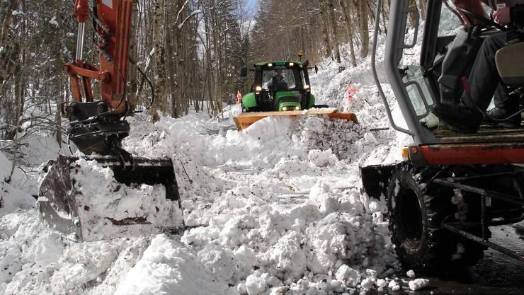 Im März 2009 musste auf der Scheltenstrasse Schnee geräumt werden