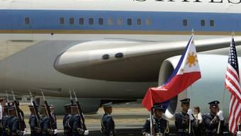 Die Präsidentenmaschine wartet auf den Heimflug mit Präsident Obama
