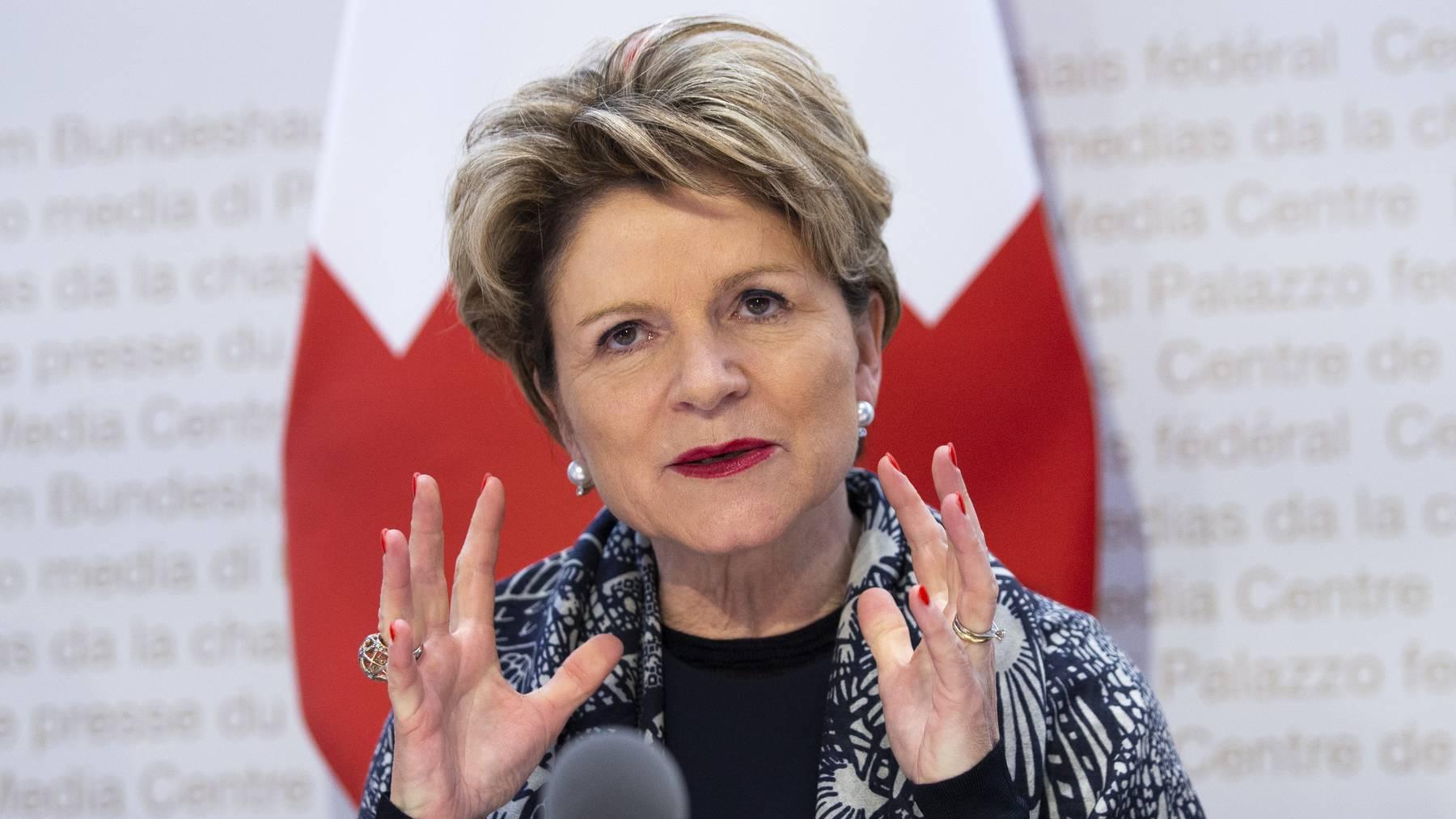 Marie-Gabrielle Ineichen-Fleisch, Direktorin des Staatssekretariats für Wirtschaft (SECO), an einer Medienkonferenz im Februar.