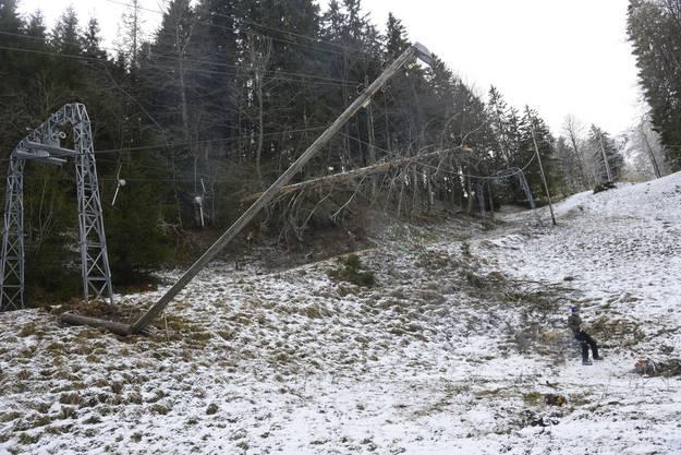 Nicht nur der Skilift war vom Sturm betroffen, auch sechs Lichtmasten wurden umgeknickt.