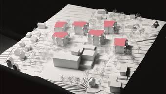Modell der Überbauung (rot-markiert): unten das Zentrum Sunnepark