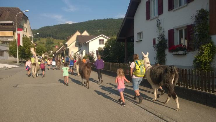 Eine grosse Schar machte sich mit den Tieren auf den Weg.