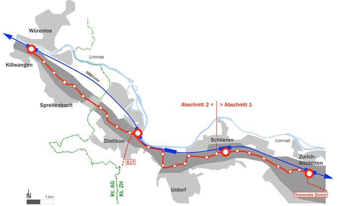 Die Limmattalbahn fürt von Altstetten nach Killwangen.