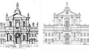 Die Jesuiten taten sich schwer mit der Fassadengestaltung. Es brauchte mehrere Entwürfe, bis das heutige Erscheinungsbild (r.) feststand.