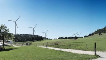 So könnte der Windpark auf dem Grenchenberg aussehen.