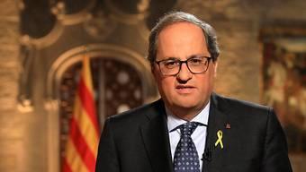 Der katalanische Regionalpräsident Quim Torra hat Neuwahlen des Regionalparlaments angekündigt. (Archivbild)