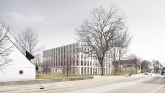 Das Primarschulhaus Dorf wird gebaut. Der Kompromiss: Ins Erdgeschoss kommt anstelle des Mehrzweckraums die Gemeindebibliothek.Visualisierung/zvg