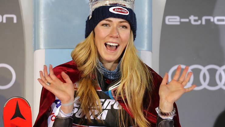 Mikaela Shiffrin freut sich in Zagreb über einen ihrer 14 Saisonsiege