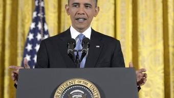 US-Präsident Barack Obama steht in Washington Red und Antwort