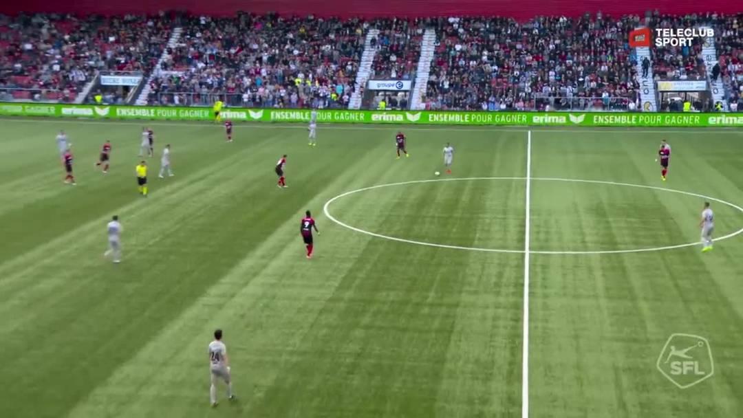 Barrage-Hinspiel, 2018/19, Neuenburg Xamax – FC Aarau, 59. Minute: Schuss von Linus Obexer