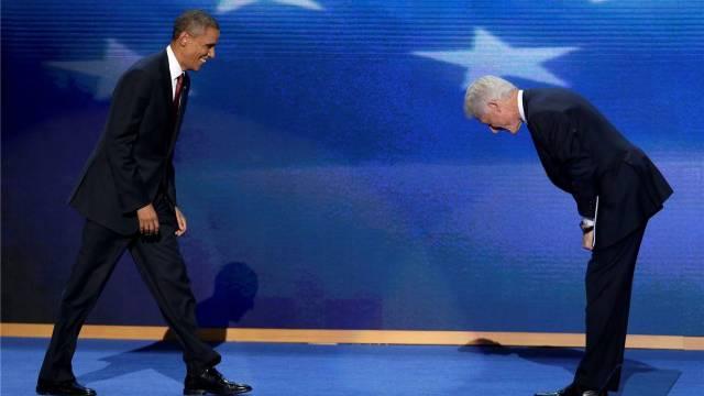 Barack Obama und Bill Clinton letzten Donnerstag am Nationalkonvent der US-Demokraten in Charlotte. Foto: Keystone