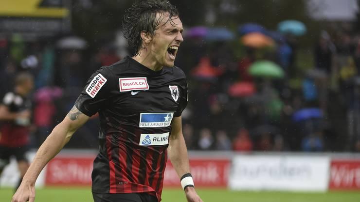 Geoffrey Tréand bejubelt das 1:0 gegen Schaffhausen.
