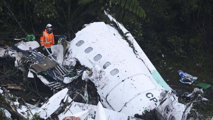 Die Überreste des am Dienstag in Kolumbien abgestürzten Flugzeuges.