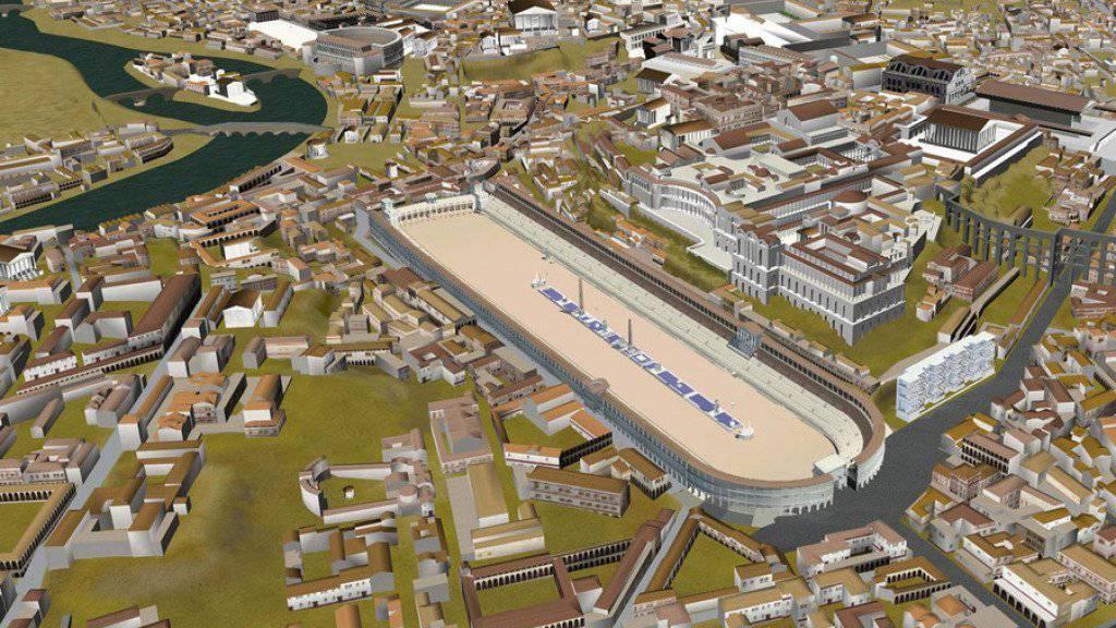 Ein 3-D-Model des antiken Roms mit dem Circus Maximus im Zentrum. (Archiv)