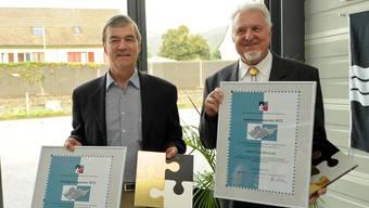 Christoph Stutz und Paul Messmer mit dem Anerkennungspreis der Vereinigung für eine Starke Region. MTO