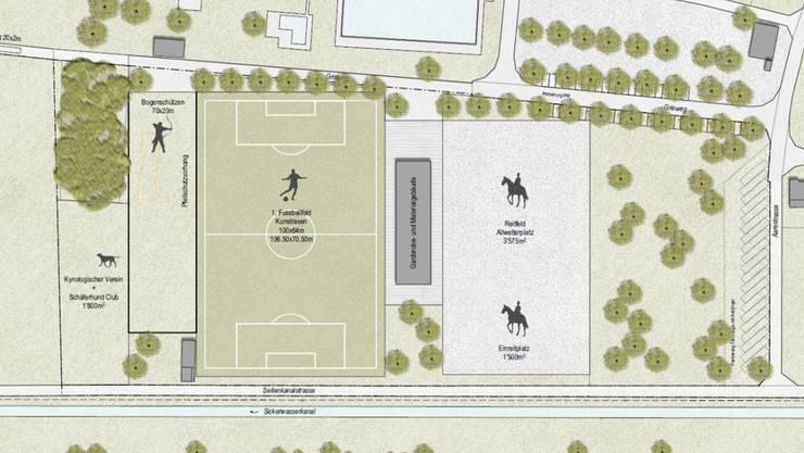 Die Visualisierung zeigt die zurzeit favorisierte Variante für die Sportplätze.