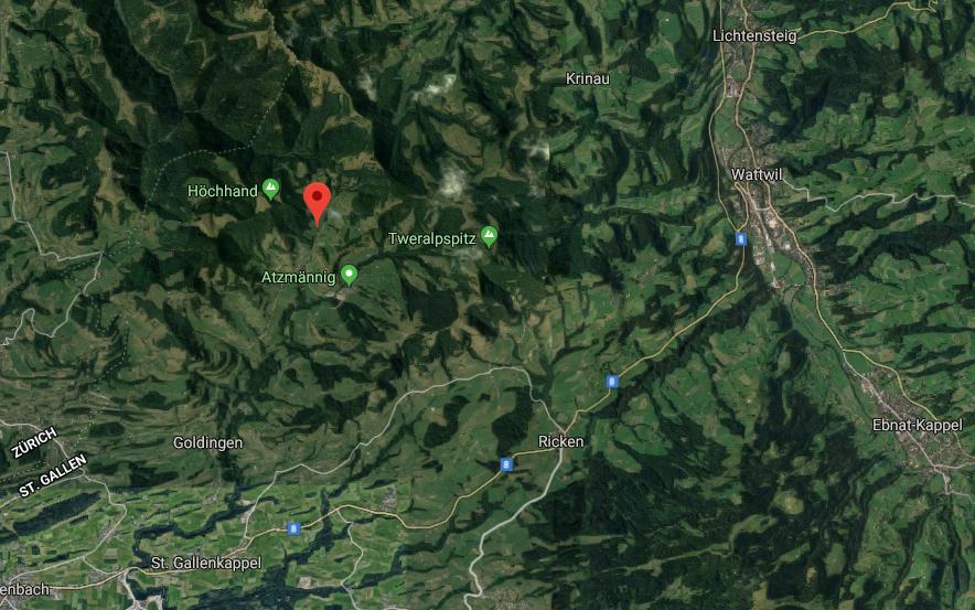 Goldingen liegt zwischen den Gemeinden Ricken und St.Gallenkappel (Bild: Google Maps)