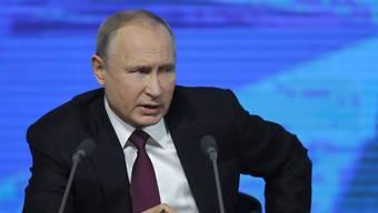 Der russische Präsident Wladimir Putin an seiner diesjährigen Jahresmedienkonferenz.