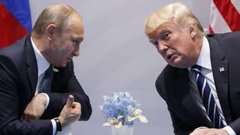 Die Präsidenten Russlands und der USA, Wladimir Putin (l) und Donald Trump, in Hamburg zu Beginn ihres ersten Gesprächs