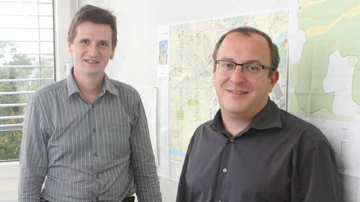 Roland Christen, Projektleiter Fibre to the Home (l.), und Marco Lupi, Projektleiter Marketing bei der Gemeinschaftsantenne Weissenstein.