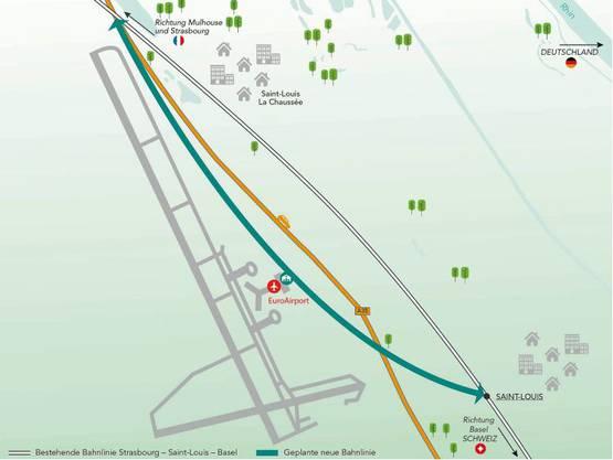 Der Bahnanschluss soll direkt an den Terminal des Euro-Airport führen – wenn er denn kommt.