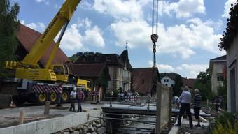 Brückenverschiebung in Birmensdorf