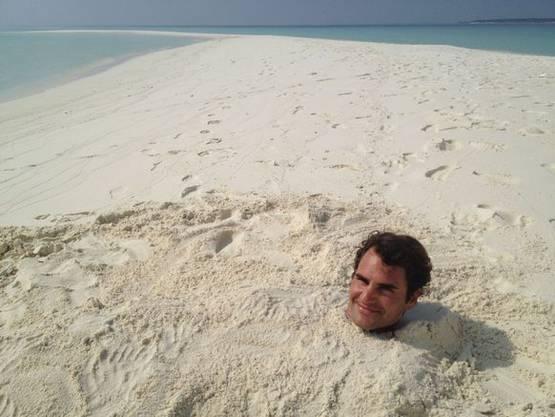 Federer 2012 auf den Malediven.