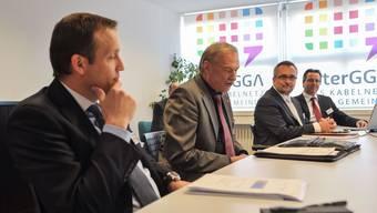Von links nach rechts: Nicolas Perrenoud (Geschäftsführer Finecom), Karl Schenk (Verwaltungsratspräsident InterGGA), Claude Steiner (Finecom), Gregor Schmid (Geschäftsführer InterGGA)