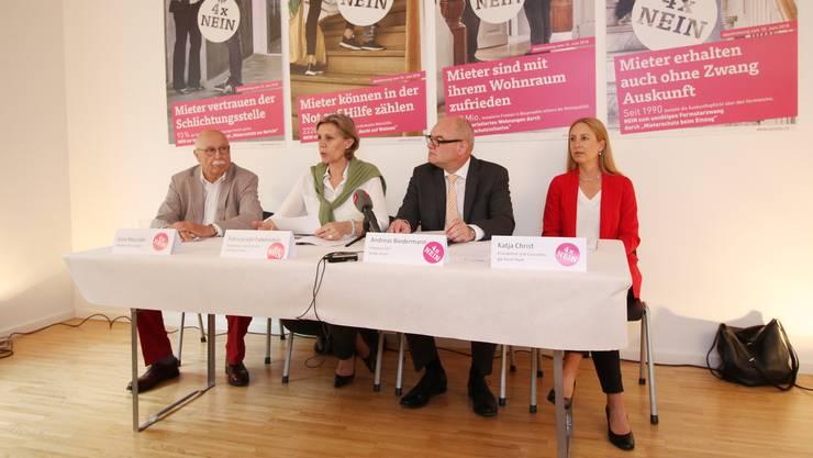 Dezidiert gegen die Initiativen: Gino Mazzotti, Patricia von Falkenstein, Andreas Biedermann und Katja Christ.
