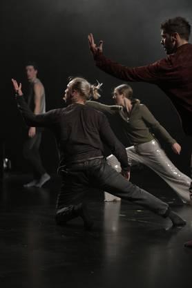 Die Fliegen sind Vorgruppe und Einstimmung auf die choreografischen und körperlichen Leistungen von sieben Tänzerinnen und Tänzern.
