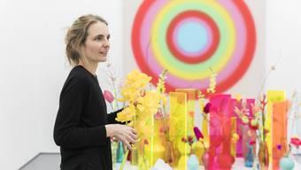 Aufbau der Ausstellung «Blumen für die Kunst» im Aargauer Kunsthaus in Aarau