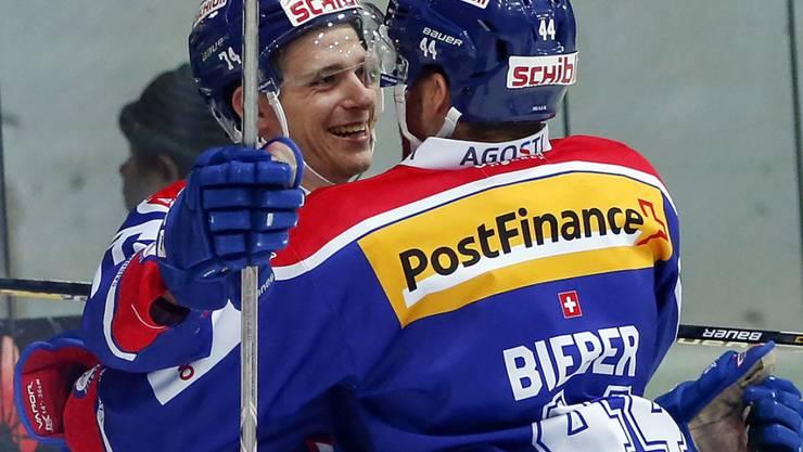 Luca Homberger (links) und Matthias Bieber (rechts) trugen sich in die Torschützenliste beim Klotener Sieg gegen Lugano ein
