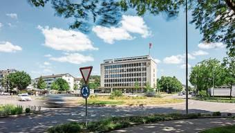 Die Gemeinde will den Rathauskreisel neu gestalten.